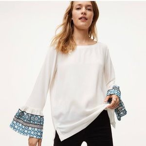 LOFT Embroidered Bell Long Sleeve Blouse Small